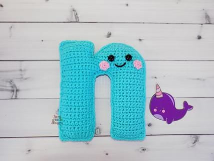 Alphabet Letter n Lower Case Kawaii Cuddler™ Crochet Pattern