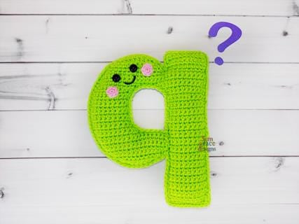 Alphabet Letter q Lower Case Kawaii Cuddler® Crochet Pattern