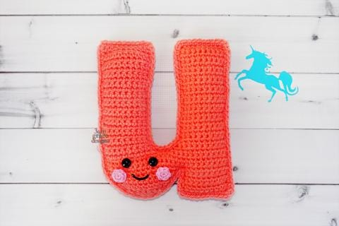 Alphabet Letter u Lower Case Kawaii Cuddler™ Crochet Pattern