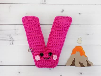 Alphabet Letter v Lower Case Kawaii Cuddler™ Crochet Pattern