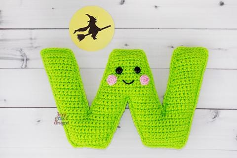 Alphabet Letter w Lower Case Kawaii Cuddler™ Crochet Pattern