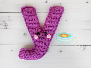 Alphabet Letter y Lower Case Kawaii Cuddler® Crochet Pattern