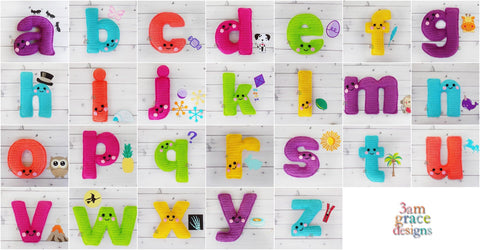 Alphabet Letter Lower Case Kawaii Cuddler™ Crochet Pattern Bundle