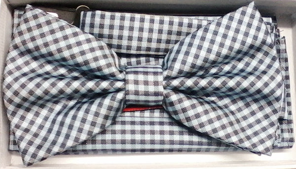 Brand Q Blue & Black Plaid Bow Tie Set