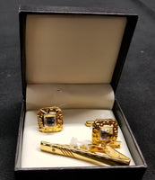 Premium Quality Gold Boxed Tie Bar Diamond Cuff links Set