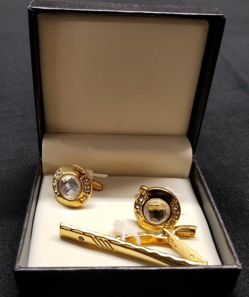 Premium Quality Gold Boxed Accent Diamond Tie Bar Cuff links Set