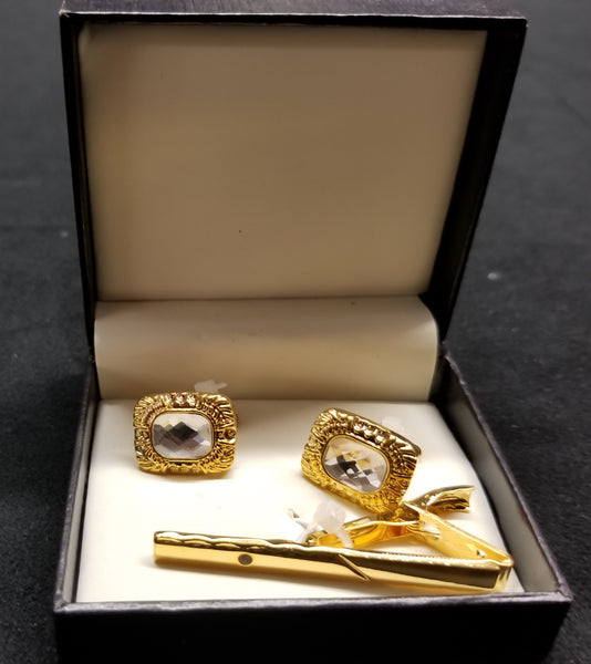 Premium Quality Gold Boxed Tie Bar Cuff links Set