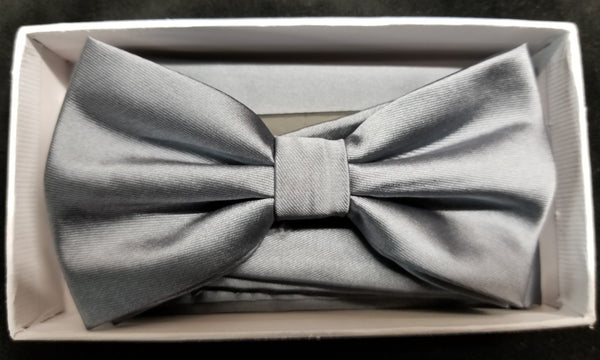 Brand Q Platinum Solid Bow Tie Set