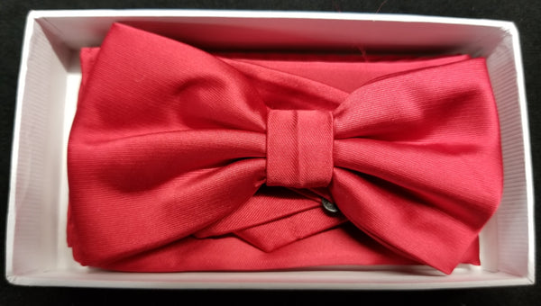 Brand Q Red Solid Bow Tie Set
