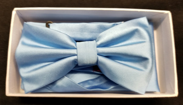 Brand Q Cornflower Solid Bow Tie Set
