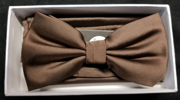 Brand Q Brown Solid Bow Tie Set