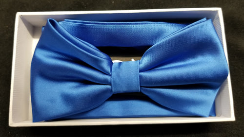 Brand Q Royal Blue Solid Bow Tie Set
