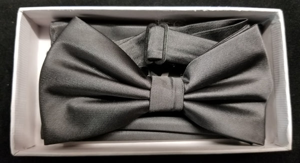 Brand Q Charcoal Solid Bow Tie Set