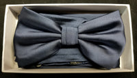 Brand Q Navy Blue Solid Bow Tie Set