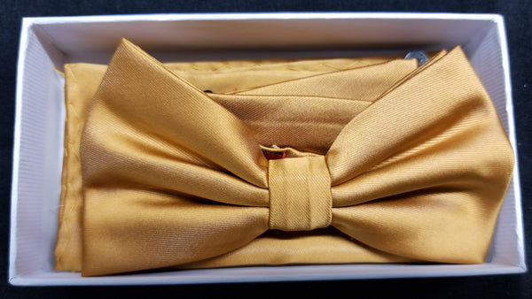 Brand Q Gold Solid Bow Tie Set
