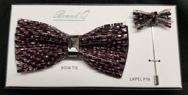 Brand Q Pink Crystal Bow Tie Lapel Pin Set