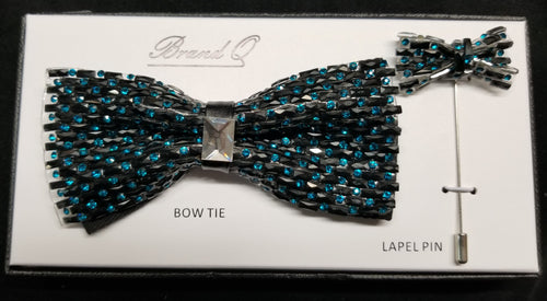 Brand Q Turquoise Crystal Bow Tie Lapel Pin Set