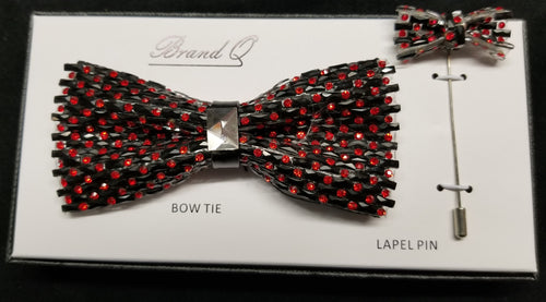 Brand Q Red Crystal Bow Tie Lapel Pin Set