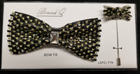 Brand Q Gold Crystal Bow Tie Lapel Pin Set