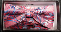 Pre-Tied Men's Jacquard Red/Blue Paisley Floral Print Bow Tie Set