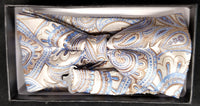 Pre-Tied Jacquard Light Blue/Brown Paisley Floral Print Bow Tie Set