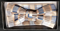 Pre-Tied Jacquard Tan/Brown/Blue Pattern Print Bow Tie Set