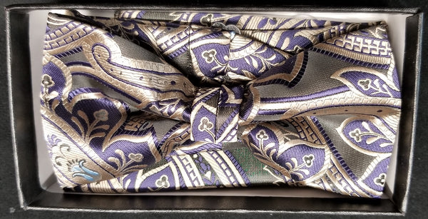 Pre-Tied Jacquard Purple/Blue/Tan Floral Print Bow Tie Set