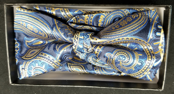 Pre-Tied Men's Jacquard Blue/Gold/Black  Paisley Floral Print Bow Tie Set