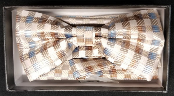 Pre-Tied Men's Jacquard Tan/Brown/Blue Pattern Print Bow Tie Set