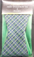 Umo Lorenzo Reversible Green, Blue, Pink, White Free Style Bow Tie Set