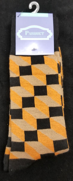 Parquet Men's 1 Pair Multi Pattern Fancy Black, Tan, Orange Dress Socks
