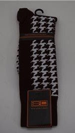 Steven Land Brown/White Cotton Pattern Herringbone Dress Socks