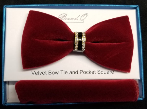 Brand Q Burgundy Velvet Men's Fashion Bow Tie Set