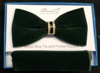Brand Q Green Velvet Men's Fashion Bow Tie Set