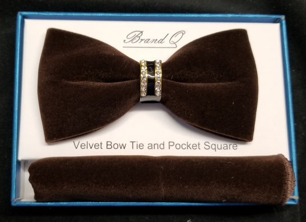 Brand Q Chocolate Brown Velvet Men's Fashion Bow Tie Set