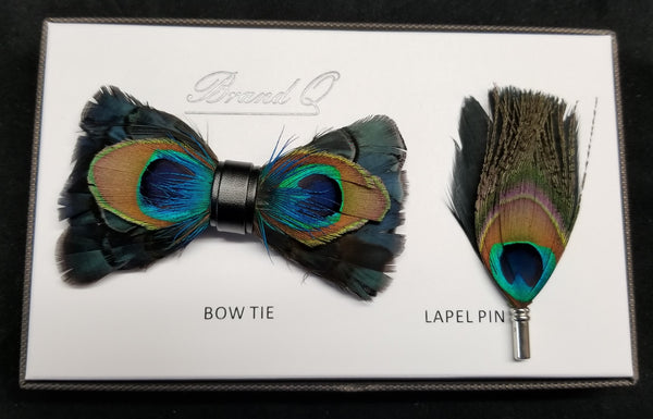 Brand Q Blue/Green/Brown Peacock Feather Bow Tie Lapel Pin Set
