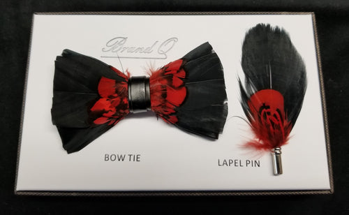 Brand Q Black/Red Feather Bow Tie Lapel Pin Set
