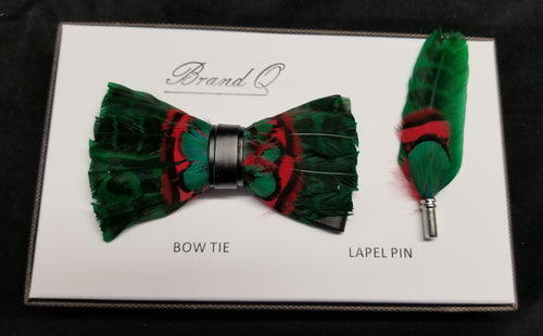 Brand Q Green/Black/Red Feather Bow Tie Lapel Pin Set