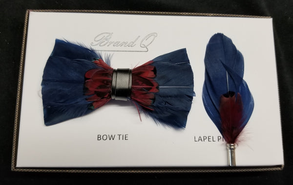 Brand Q Blue/Red Feather Bow Tie Lapel Pin Set