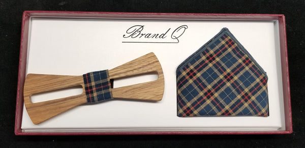 Brand Q Light Beige/Natural Multi-Color Striped Design Wooden Bow Tie Set