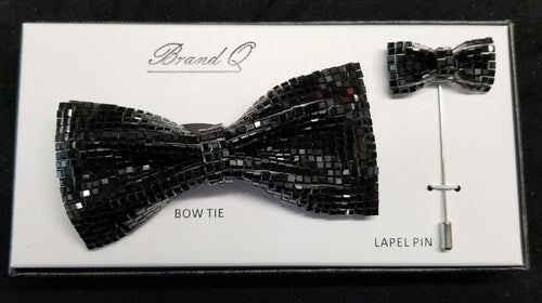 Brand Q Black Crystal Bow Tie Lapel Pin Set