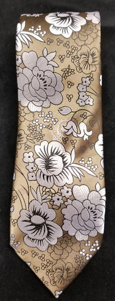 VERSE 9 BROWN/GREY/WHITE/BLACK MULTI-COLOR FLORAL PRINT MEN'S FASHION DRESS TIE