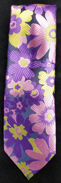 VERSE 9 PURPLE/YELLOW MULTI-COLOR FLORAL PRINT DESIGN MEN'S FASHION DRESS TIE
