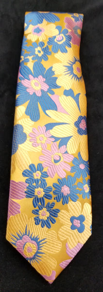 Verse 9 YELLOW/BLUE/PINK Multi Color Floral Print Design Men's Fashion Dress Tie