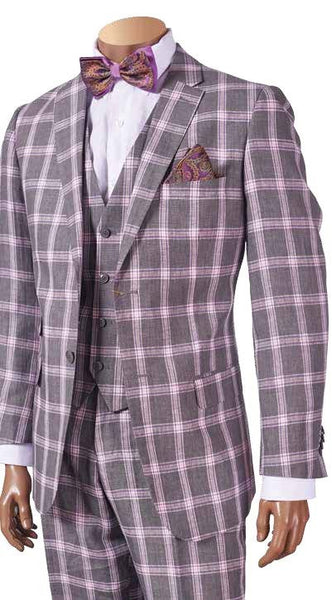 INSERCH GREY MEN'S PINK PLAID SUIT