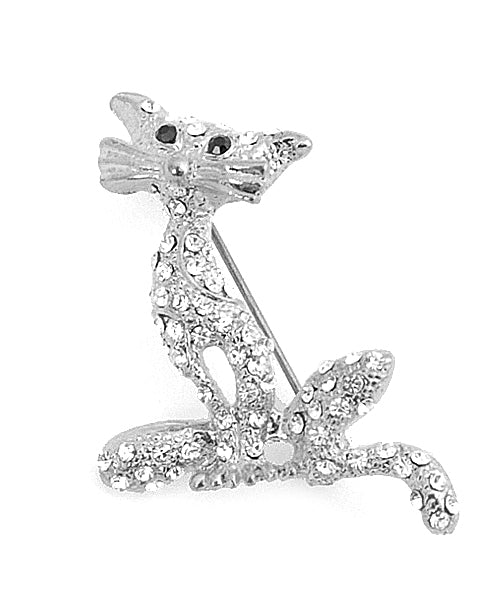 Silver Diamond Panther Broach