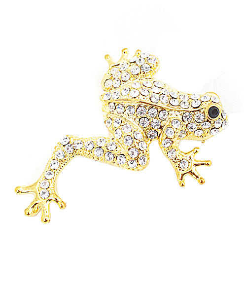 Gold Diamond Frog Broach