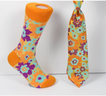 Verse 9 Hiroshima-1 Orange/Blue/Purple Floral Design Sock Combo