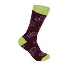 Verse 9 Askia Lime Green/Purple Floral Design Socks