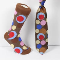 Verse 9 Pushcar-4 Brown/Pink/Blue/Red/Yellow Circle Dot Pattern Design Sock Combo
